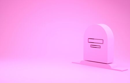 Pink Tombstone with RIP written on it icon isolated on pink background. Grave icon. Minimalism concept. 3d illustration 3D render