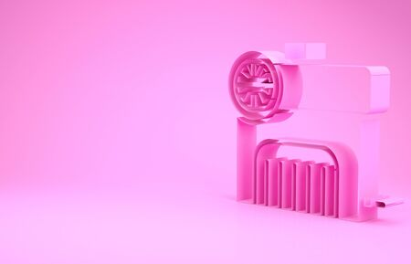 Pink Air compressor icon isolated on pink background. Minimalism concept. 3d illustration 3D render