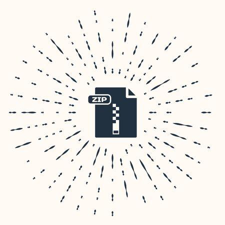 Document de fichier ZIP gris. Télécharger l'icône du bouton zip isolé sur fond beige. Symbole de fichier ZIP. Points aléatoires de cercle abstrait. Illustration vectorielle