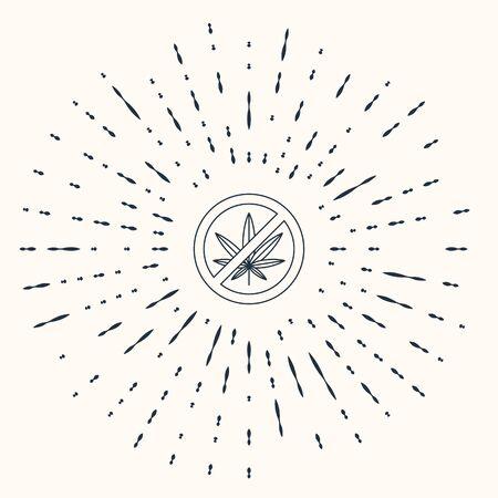 Grey Stop marijuana or cannabis leaf icon isolated on beige background. No smoking marijuana. Hemp symbol. Abstract circle random dots. Vector Illustration