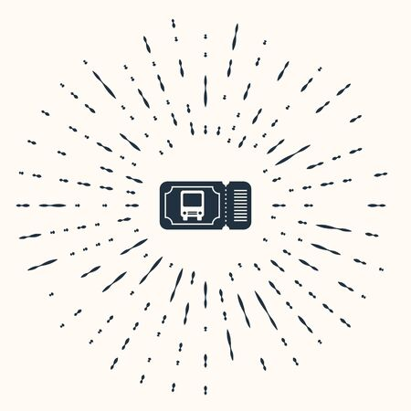 Grey Bus ticket icon isolated on beige background. Public transport ticket. Abstract circle random dots. Vector Illustration