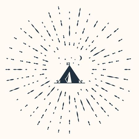 Grey Tourist tent with flag icon isolated on beige background. Camping symbol. Abstract circle random dots. Vector Illustration 矢量图像