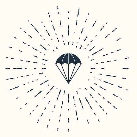 Grey Parachute icon isolated on beige background. Abstract circle random dots. Vector Illustration