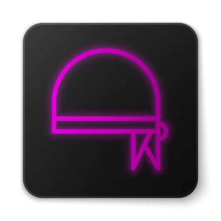 Glowing neon line Pirate bandana for head icon isolated on white background. Black square button. Vector Illustration
