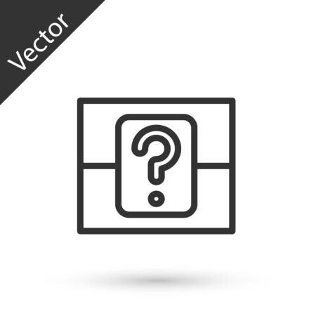 Grey line Mystery box or random loot box for games icon isolated on white background. Question box.  Vector Illustration