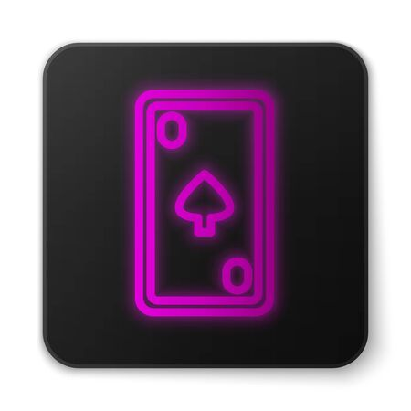 Glowing neon line Playing card with diamonds symbol icon isolated on white background. Casino gambling. Black square button. Vector Illustration
