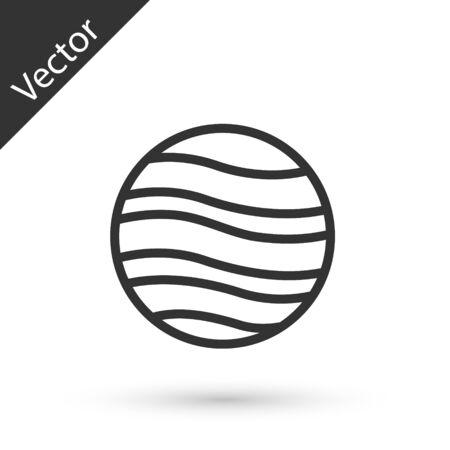Grey line Planet Jupiter icon isolated on white background. Vector Illustration