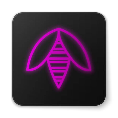 Glowing neon line Bee icon isolated on white background. Sweet natural food. Honeybee or apis with wings symbol. Flying insect. Black square button. Vector Illustration
