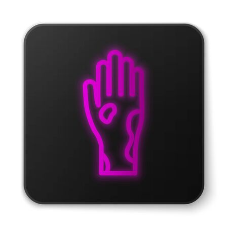 Glowing neon line Hand with psoriasis or eczema icon isolated on white background. Concept of human skin response to allergen or chronic body problem. Black square button. Vector Illustration