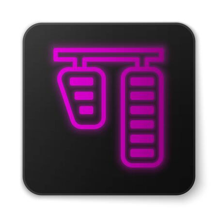 Glowing neon line Car gas and brake pedals icon isolated on white background. Black square button. Vector Illustration