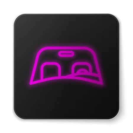 Glowing neon line Car windscreen icon isolated on white background. Black square button. Vector Illustration