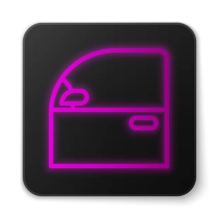 Glowing neon line Car door icon isolated on white background. Black square button. Vector Illustration Vettoriali