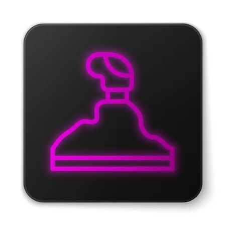 Glowing neon line Gear shifter icon isolated on white background. Transmission icon. Black square button. Vector Illustration
