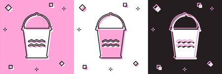 Set Bucket icon isolated on pink and white, black background. Vector Illustration