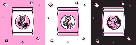 Set Fertilizer bag icon isolated on pink and white, black background.  Vector Illustration