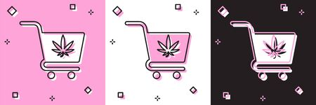 Set Shopping cart with marijuana or cannabis leaf icon isolated on pink and white, black background. Online buying. Delivery service. Supermarket basket. Vector Illustration 일러스트