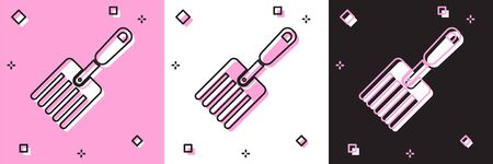Set Garden fork icon isolated on pink and white, black background. Pitchfork icon. Tool for horticulture, agriculture, farming. Vector Illustration Vettoriali