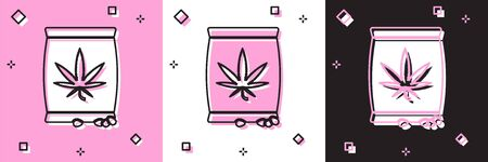 Set Marijuana or cannabis seeds in a bag icon isolated on pink and white, black background. Hemp symbol. The process of planting marijuana. Vector Illustration
