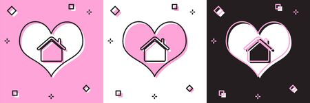 Set House with heart shape icon isolated on pink and white, black background. Love home symbol. Family, real estate and realty. Vector Illustration