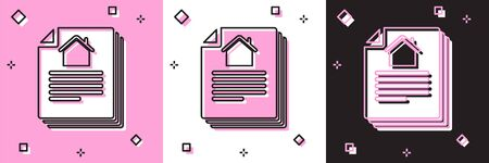 Set House contract icon isolated on pink and white, black background. Contract creation service, document formation, application form composition. Vector Illustration