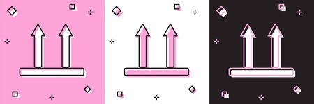 Set This side up icon isolated on pink and white, black background. Two arrows indicating top side of packaging. Cargo handled so these arrows always point up. Vector Illustration