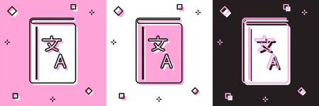 Set Translator book icon isolated on pink and white, black background. Foreign language conversation icons in chat speech bubble. Translating concept. Vector Illustration Stock Illustratie