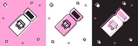 Set Bus ticket icon isolated on pink and white, black background. Public transport ticket. Vector Illustration