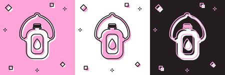 Set Canteen water bottle icon isolated on pink and white, black background. Tourist flask icon. Jar of water use in the campaign. Vector Illustration Ilustração