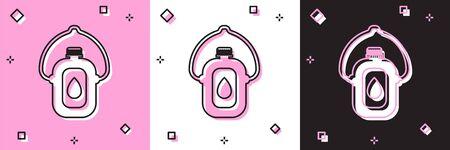 Stellen Sie das Kantinenwasserflaschensymbol ein, das auf rosa und weißem, schwarzem Hintergrund isoliert ist. Touristische Flasche Symbol. Glas Wasser verwenden in der Kampagne. Vektorillustration