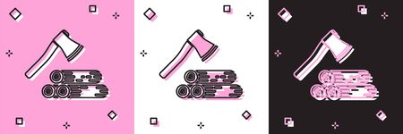 Set Wooden axe and wood icon isolated on pink and white, black background. Lumberjack axe. Vector Illustration