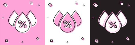 Set Water drop percentage icon isolated on pink and white, black background. Humidity analysis. Vector Illustration