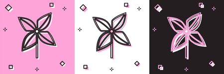 Set Pinwheel icon isolated on pink and white, black background. Windmill toy icon. Vector Illustration