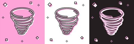 Set Tornado icon isolated on pink and white, black background. Cyclone, whirlwind, storm funnel, hurricane wind or twister weather icon. Vector Illustration