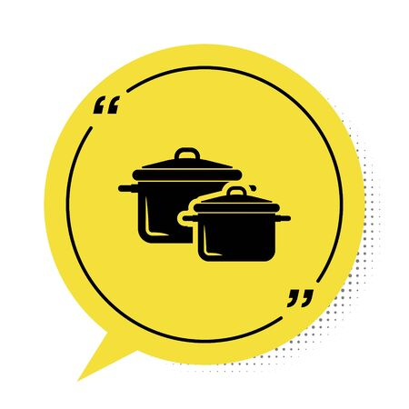 Black Cooking pot icon isolated on white background. Boil or stew food symbol. Yellow speech bubble symbol. Vector Illustration