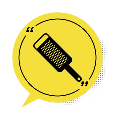 Black Grater icon isolated on white background. Kitchen symbol. Cooking utensil. Cutlery sign. Yellow speech bubble symbol. Vector Illustration