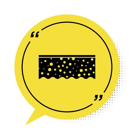 Black Sponge with bubbles icon isolated on white background. Wisp of bast for washing dishes. Cleaning service logo. Yellow speech bubble symbol. Vector Illustration