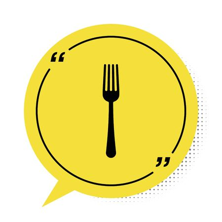 Black Fork icon isolated on white background. Cutlery symbol. Yellow speech bubble symbol. Vector Illustration  イラスト・ベクター素材