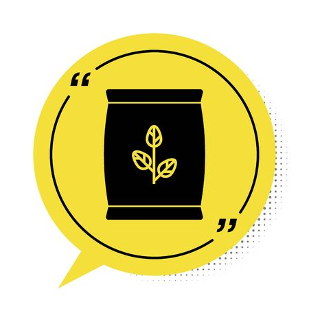 Black Fertilizer bag icon isolated on white background. Yellow speech bubble symbol. Vector Illustration