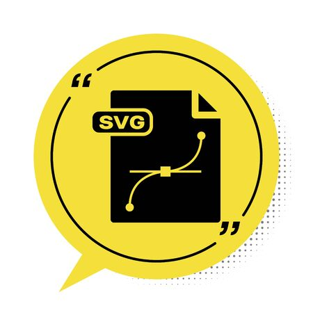 Black SVG file document. Download svg button icon isolated on white background. SVG file symbol. Yellow speech bubble symbol. Vector Illustration