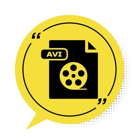 Black AVI file document. Download avi button icon isolated on white background. AVI file symbol. Yellow speech bubble symbol. Vector Illustration Vector Illustration
