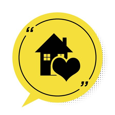 Black House with heart shape icon isolated on white background. Love home symbol. Family, real estate and realty. Yellow speech bubble symbol. Vector Illustration