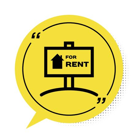 Black Hanging sign with text For Rent icon isolated on white background. Signboard with text For Rent. Yellow speech bubble symbol. Vector Illustration 일러스트