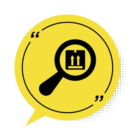 Black Search package icon isolated on white background. Parcel tracking symbol. Magnifying glass and cardboard box. Logistic and delivery. Yellow speech bubble symbol. Vector Illustration