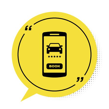 Black Online car sharing icon isolated on white background. Online rental car service. Online booking design concept for mobile phone. Yellow speech bubble symbol. Vector Illustration Illustration