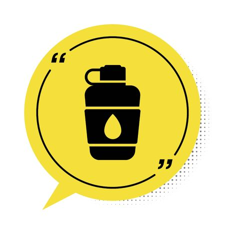 Black Canteen water bottle icon isolated on white background. Tourist flask icon. Jar of water use in the campaign. Yellow speech bubble symbol. Vector Illustration