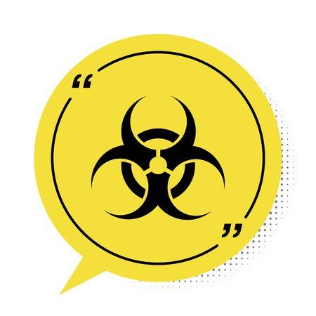 Schwarzes Biohazard-Symbol isoliert auf weißem Hintergrund. Gelbes Sprechblasensymbol. Vektorillustration Vektorgrafik