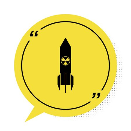 Black Nuclear rocket icon isolated on white background. Rocket bomb flies down. Yellow speech bubble symbol. Vector Illustration