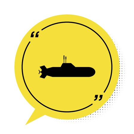 Black Submarine icon isolated on white background. Military ship. Yellow speech bubble symbol. Vector Illustration
