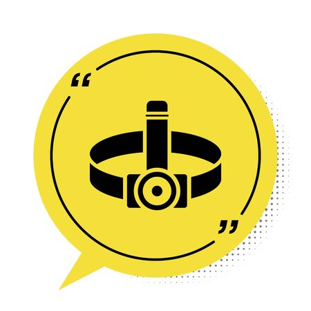 Black Head flashlight icon isolated on white background. Tourist head flashlight. Camping head light. Yellow speech bubble symbol. Vector Illustration