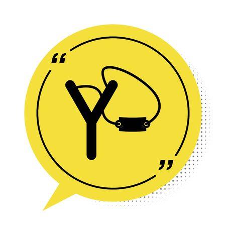 Black Slingshot icon isolated on white background. Yellow speech bubble symbol. Vector Illustration